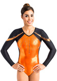 Ervy Tyra Long Sleeved Leotard (Orange, Black and Copper)