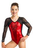 Ervy Tyra 3/4 Sleeved Leotard (Light Red and Black)