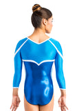 Ervy Tyra 3/4 Sleeved Leotard (Royal Blue, Azure and White)