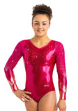 Ervy Blanca Long Sleeved Leotard (Pomegranate, Blackberry and Lipstick)