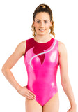 Ervy Innis Leotard (Neon Pink, Bordeaux and Silver)