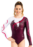 Ervy Innis Long Sleeved Leotard (Dark Amethyst, White and Pomegranate)