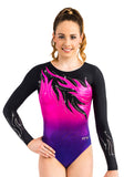 Ervy Pina Long Sleeved Leotard (Pink, Violet and Black)