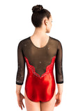 Ervy Mallory 3/4 Sleeved Leotard (Light Red and Black)