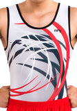 Ervy Ian Leotard (White, Red and Graphite) Front Design