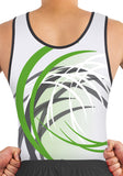Ervy Ian Leotard (White, Green and Graphite) Front to Back Design