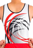 Ervy Ian Leotard (White, Red and Graphite) Front to Back Design