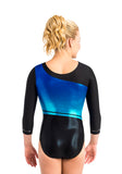 Ervy Diamond 3/4 Sleeved Leotard (Caribbean Blue, Marine Blue and Black)