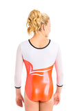 Ervy Solea 3/4 Sleeved Leotard (Grapefruit, White and Black)