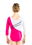 Ervy Tavia 3/4 Sleeved Leotard (Fuchsia, White, Ink and Pomegranate)
