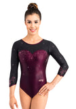 Ervy Estelle 3/4 Sleeved Leotard (Dark Amethyst and Black)