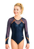 Ervy Halina Long Sleeved Leotard (Ink and Copper)