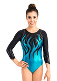 Ervy Maisie 3/4 Sleeved Leotard (Caribbean Blue and Black)