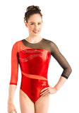 Ervy Moira Long Sleeved Leotard (Light Red, Black and Skin)