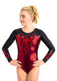 Ervy Quincy Long Sleeved Leotard (Bordeaux, Black and Light Red)