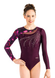 Ervy Vesna Long Sleeved Leotard (Dark Amethyst, Coral and Skin)