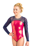 Ervy Winnie Long Sleeved Leotard (Lipstick and Ink)