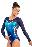 Ervy Tenoba Long Sleeved Leotard (Caribbean Blue, Marine Blue, Ink and Silver)
