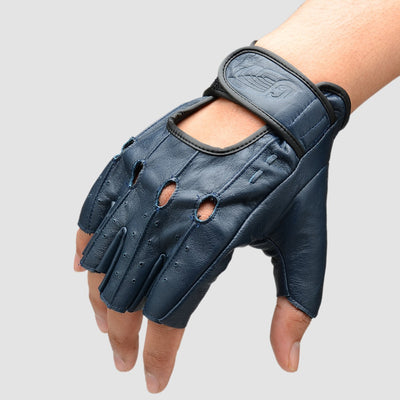 CJ Riding Glove Half Finger Navy