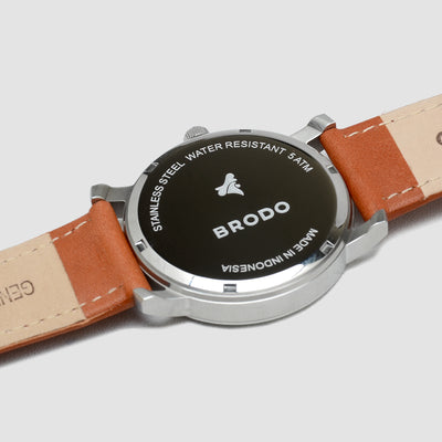 Brodo Tempo Alu Leather 43mm Brown