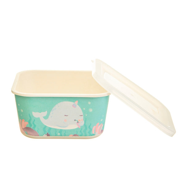 Sass & Belle Alma Narwhal Bamboo Square Lunch Box