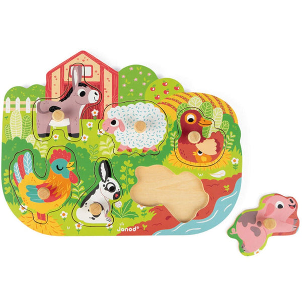 Janod Wooden Puzzle Happy Farm 18m