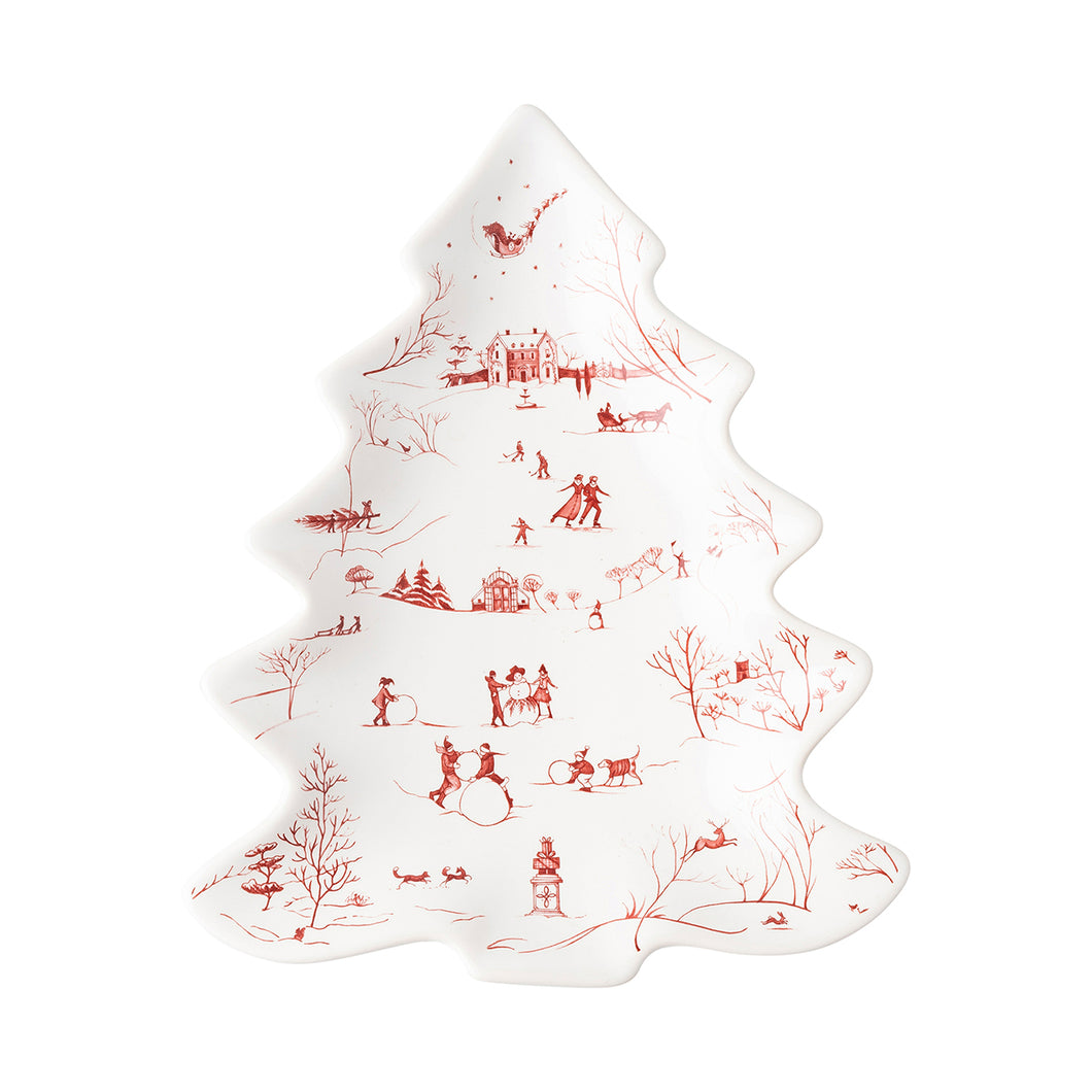 Country Estates  Winter Frolic Ruby Small Tree Platter