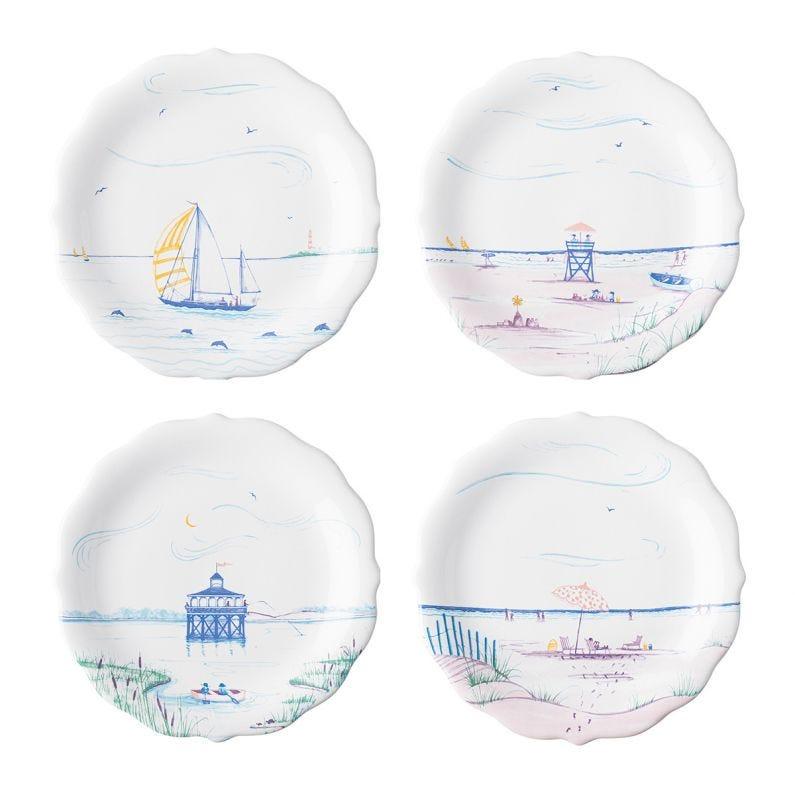 Country Estate Seaside Party Plates Set of 4