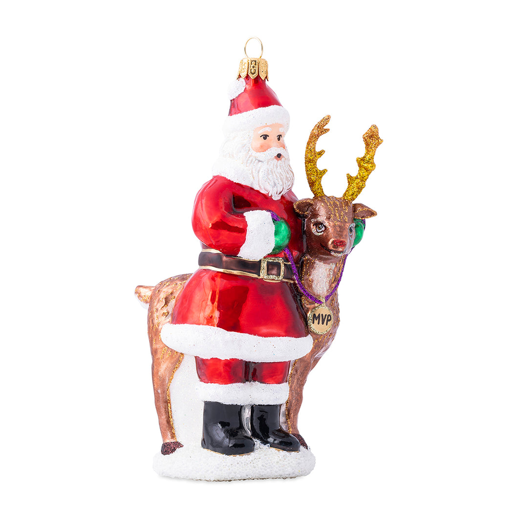 Country Estates Santa & Rudolph MVP Glass Ornament