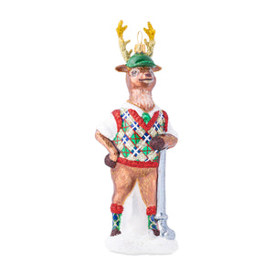 Country Estates Comet the Golfer Reindeer Glass Ornament