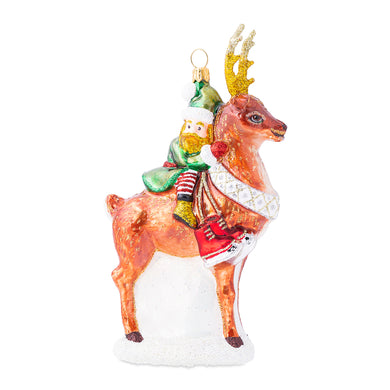 Country Estates Dancer Reindeer Glass Ornament