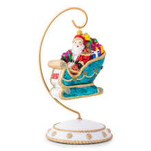 Load image into Gallery viewer, Berry & Thread 2020 Santa in Sleigh Glass Ornament