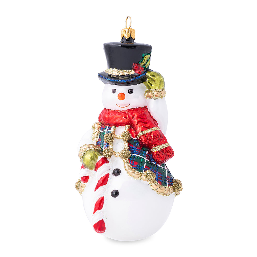 Berry & Thread Snowman Glass Ornament