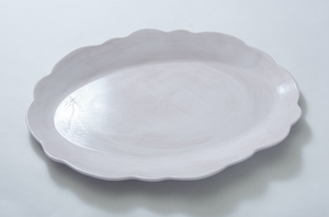 Scallop Serving Oval Tray Taupe