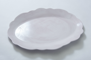 Scallop Serving Oval Tray White