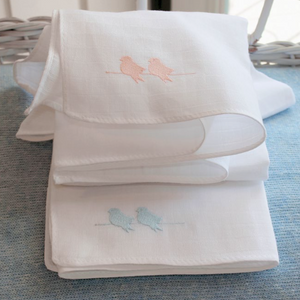Burp Cloths Twin Birds - Pink