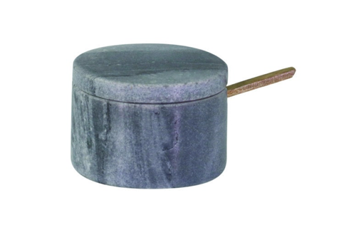 Gray Marble Lidded Cellar with Spoon