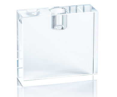 Rectangular Crystal Glass Taper Holder,
