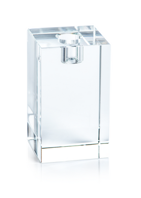 Square Crystal Glass Taper Holder - 4.75
