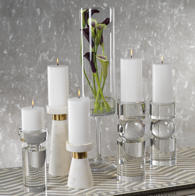 Rialto Clear Crystal Pillar Holder
