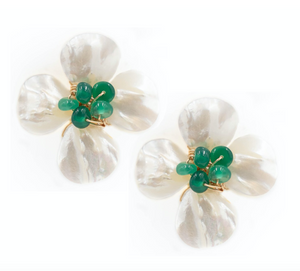 POPPY EARRING, EMERALD GREEN ONYX