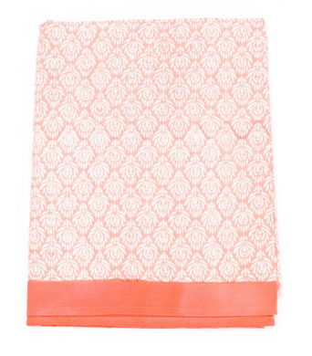 Peacock Coral Large Tablecloth