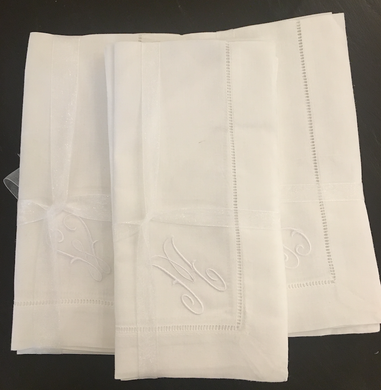 White Hemstitch Monogrammed Dinner Napkin S/4