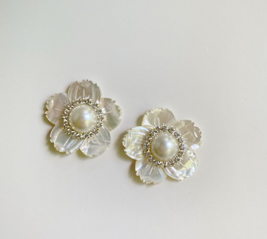 PEARL + EMBELLISHED CENTER FLOWER STUD