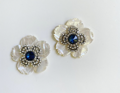 Blue Embellished Center Flower Stud