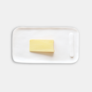 Large Serving Board With Cheese Spreader-White