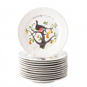 Twelve Days of Christmas Dessert/Salad Plate Set/12