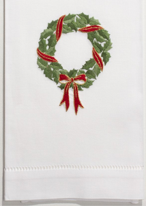 Hand Towel - Holly Ribbon Wreath