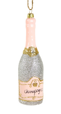 Silver Glittered Champagne Ornament