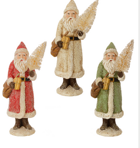 "8.5"" Glittered Santa, Assorted Colors"